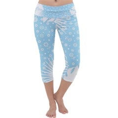 Flower Illustrations Capri Yoga Leggings