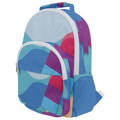 Ice Summer Beach Sea Dessert Rounded Multi Pocket Backpack