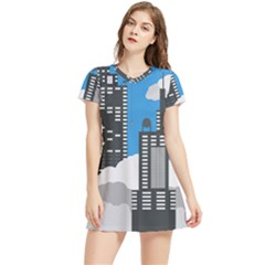 Minimal Skyscrapers Blue Women s Sports Skirt by AnjaniArt