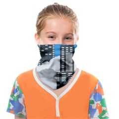 Minimal Skyscrapers Blue Face Covering Bandana (kids) by AnjaniArt