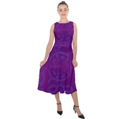 Cloister Advent Purple Midi Tie-back Chiffon Dress