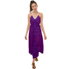 Cloister Advent Purple Halter Tie Back Dress