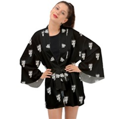 Man Head Caricature Drawing Pattern Long Sleeve Kimono