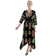 Gingerbread Krampus Quarter Sleeve Wrap Front Maxi Dress