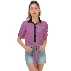 Bodacious Pink - Tie Front Shirt  by FashionLane