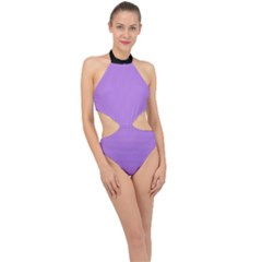 Floral Purple - Halter Side Cut Swimsuit by FashionLane