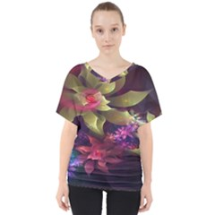 Fractal Flower V-neck Dolman Drape Top