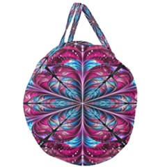 Fractal Flower Giant Round Zipper Tote