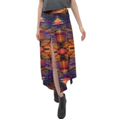 Fractal Flower Velour Split Maxi Skirt