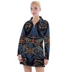 Fractal Flower Women s Long Sleeve Casual Dress by Sparkle