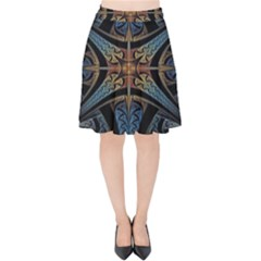 Fractal Flower Velvet High Waist Skirt