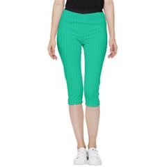 Caribbean Green - Inside Out Lightweight Velour Capri Leggings  by FashionLane