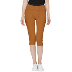 Bronze Orange - Inside Out Lightweight Velour Capri Leggings  by FashionLane