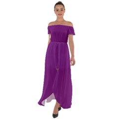 Dark Orchid - Off Shoulder Open Front Chiffon Dress