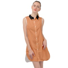 Cantaloupe Orange - Sleeveless Shirt Dress
