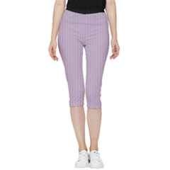 Wisteria Purple - Inside Out Lightweight Velour Capri Leggings  by FashionLane