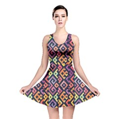 Square Pattern 2 Reversible Skater Dress
