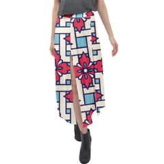 Diwali Pattern Velour Split Maxi Skirt