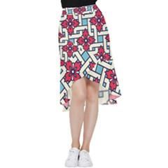 Diwali Pattern Frill Hi Low Chiffon Skirt