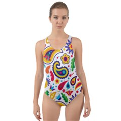 Baatik Print Cut-out Back One Piece Swimsuit