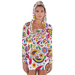 Baatik Print Long Sleeve Hooded T-shirt