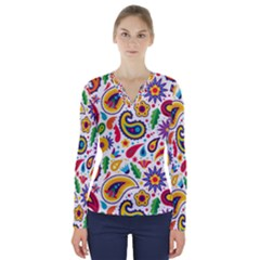 Baatik Print V-neck Long Sleeve Top