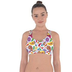 Baatik Print Cross String Back Sports Bra
