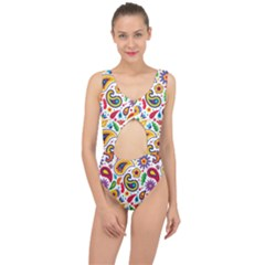 Baatik Print Center Cut Out Swimsuit