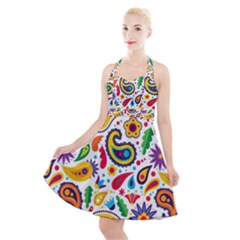 Baatik Print Halter Party Swing Dress
