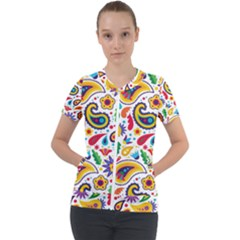 Baatik Print Short Sleeve Zip Up Jacket