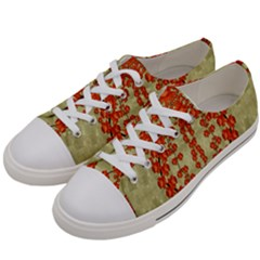 Roses Decorative In The Golden Environment Women s Low Top Canvas Sneakers by pepitasart