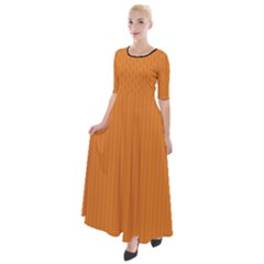 Cadmium Orange - Half Sleeves Maxi Dress