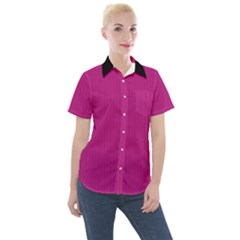 Dark Carnation Pink - Women s Short Sleeve Pocket Shirt
