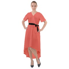 Living Coral - Front Wrap High Low Dress
