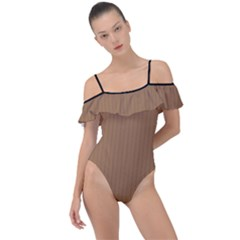 Bone Brown - Frill Detail One Piece Swimsuit