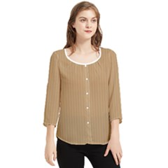Wood Brown - Chiffon Quarter Sleeve Blouse