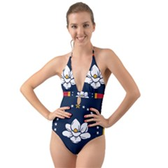 Flag Of Mississippi Halter Cut-out One Piece Swimsuit
