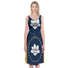 Flag Of Mississippi Midi Sleeveless Dress