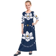 Flag Of Mississippi Kids  Quarter Sleeve Maxi Dress