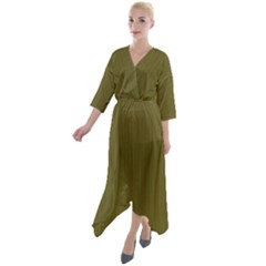 Antique Bronze - Quarter Sleeve Wrap Front Maxi Dress by FashionLane