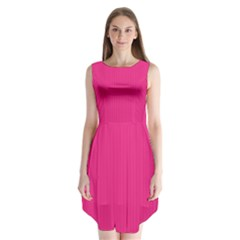 Deep Hot Pink - Sleeveless Chiffon Dress