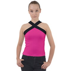 Deep Hot Pink - Cross Neck Velour Top by FashionLane