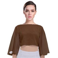 Coyote Brown - Tie Back Butterfly Sleeve Chiffon Top