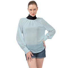 Pale Blue - High Neck Long Sleeve Chiffon Top