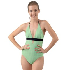 Pale Green - Halter Cut-out One Piece Swimsuit