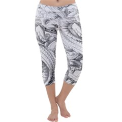 Dragon Lizard Vector Monster Capri Yoga Leggings
