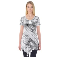 Dragon Lizard Vector Monster Short Sleeve Tunic