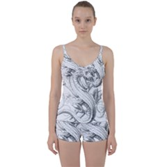 Dragon Lizard Vector Monster Tie Front Two Piece Tankini