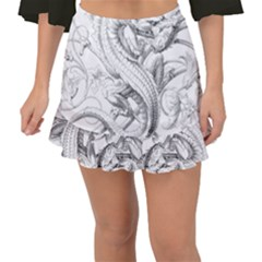 Dragon Lizard Vector Monster Fishtail Mini Chiffon Skirt