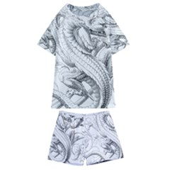Dragon Lizard Vector Monster Kids  Swim Tee And Shorts Set